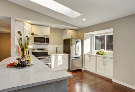 open plan: Kitchen room interior with white cabinets, hardwood floor and rug