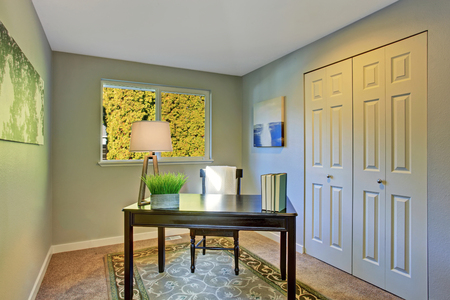 office furniture: Simple home office room with antique furniture and rug