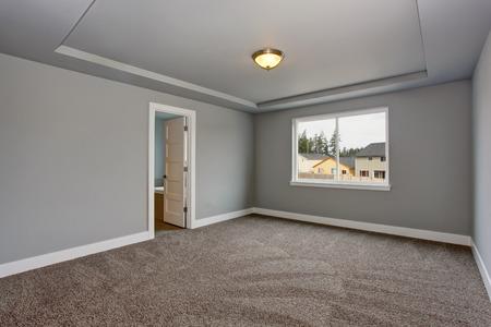 Grey empty basement room with carpet floor and one window.