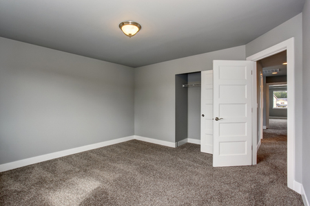 trims: Small basement room interior with grey walls and white trim. The room with walk in closet. Stock Photo