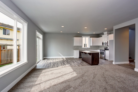open plan: Grey house interior of kitchen room connected with the living room. Open plan Stock Photo