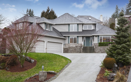 Luxury two level house with garage and driveway. Also nice landscape desing around. Northwest, USA