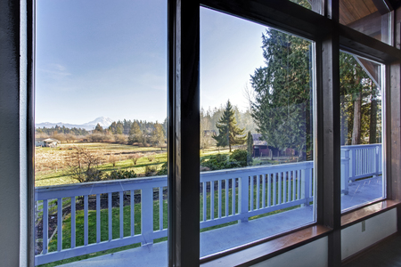 living room window: Awesome mountain view from the living room window. Northwest,USA