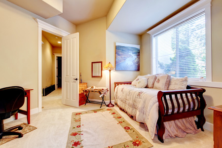 furnished: Bright and cozy small bedroom with single bed and floor lamp. Northwest,USA