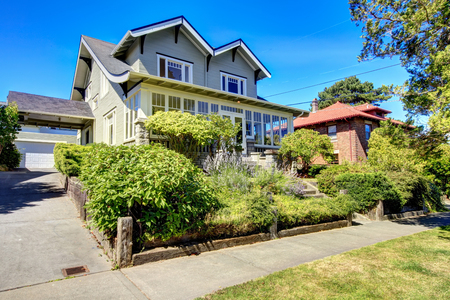 two story: Curb appeal. Two story house with garage and driveway. Northwest, USA