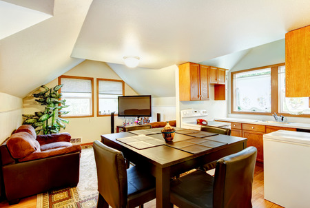 areas: Dining and kitchen room interior with white vaulted ceiling. And small sitting area with TV. Northwest, USA