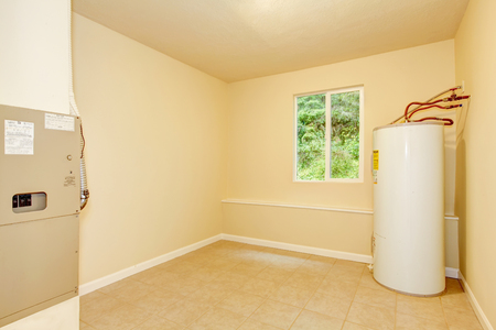 Boiler room with a heating system in a private house. Northwest, USA 版權商用圖片