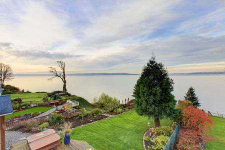 northwest: Panoramic view of backyard area. Luxury house exterior. Northwest,USA
