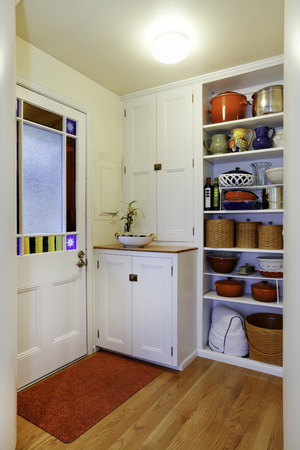pantry: Pantry view with storage shelves in Small hallway. Exit to backyard area, Northwest, USA