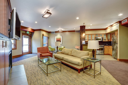 open floor plan: Open floor plan including Living, dining room and kitchen in apartment building. Northwest, USA