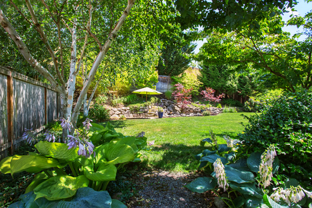 northwest: Backyard garden with beautiful landscape. Northwest, USA