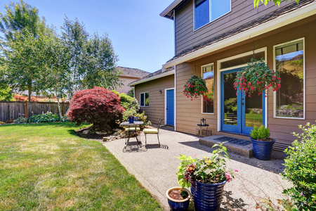 northwest: Backyard garden with patio area and beautiful landscape. Northwest, USA