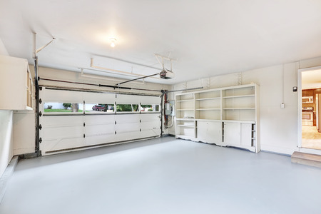 remodeled: Empty garage interior in American house. Northwest, USA