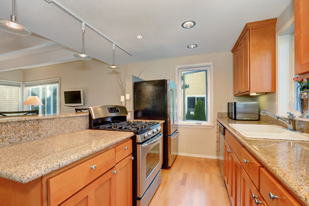 kitchen cabinets: Modern kitchen interior with granite counter tops, Maple kitchen cabinets and stainless steel appliances. Northwest, USA