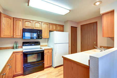 northwest: Wooden kitchen interior with white built-in fridge. Northwest, USA