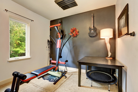 nobody real: Recreation room with sport equipment and musical instruments. Northwest, USA
