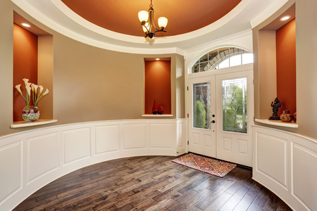 entryway: Gorgeous entryway with round red walls and nice decor. Northwest, USA
