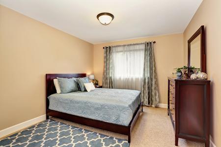 furnished: Nice bathroom in blue tones with burgundy furniture set. Northwest, USA