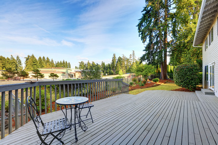 northwest: Spacious back deck with chairs and nice view. Northwest, USA