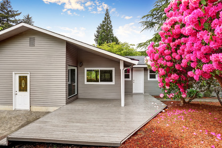 northwest: Well kept backyard garden of siding trim house with wooden walkout deck. Northwest, USA Stock Photo
