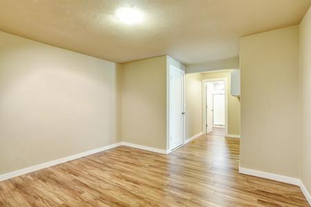hardwood floor: Hallway interior in light tones walls and hardwood floor. Northwest, USA