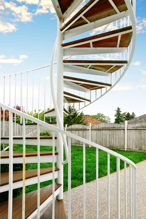 Spiral staircase on the outside the house. Northwest, USA