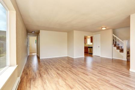 remodeled: Open floor plan. Empty room interior with hardwood floor. Northwest, USA