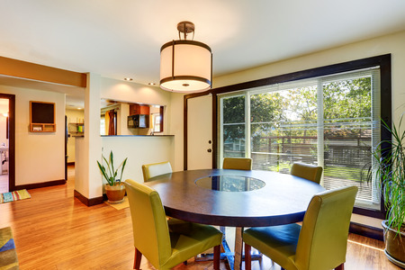round chairs: Nice dining area with round table and green chairs. Northwest , USA