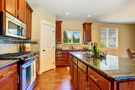 black appliances: Luxury kitchen room with modern black appliances, cabinets and granite counter tops. Northwest, USA