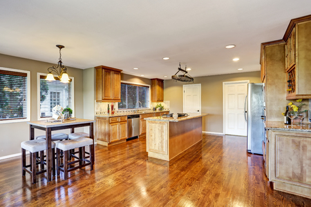 counter top: Open floor plan. Kitchen room interior with island and granite counter top. Northwest, USA Stock Photo
