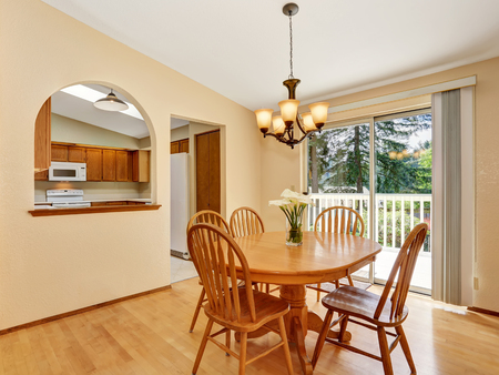 areas: Classic dining area with wooden table set and hardwood floor. Northwest, USA