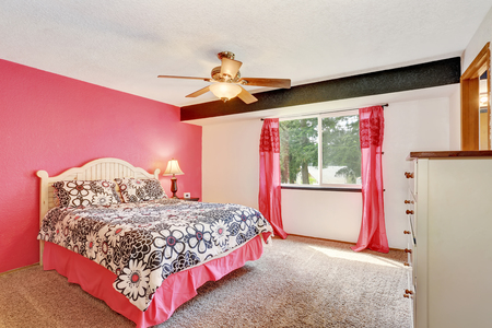 Modern Pink Bedroom With White Furniture And Carpet Floor. Also Pink  Curtains. Northwest,