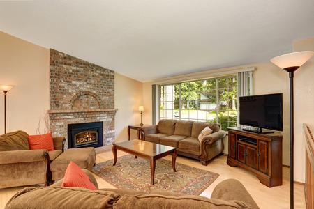 Cozy living room interior with tv set, brick fireplace and rug. Northwest, USA