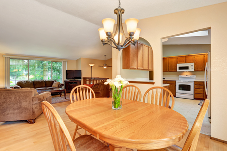 Open floor plan. Living room and kitchen room. View from dining area. Northwest, USA Stock Photo