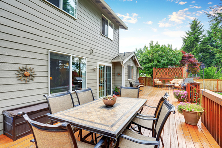 northwest: Spacious wooden deck with patio area and attached pergola. Northwest, USA