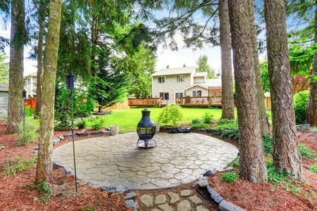 northwest: Fenced back yard with well kept garden. Northwest, USA