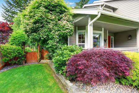 Nice wooden gate with well kept garden. Northwest, USA