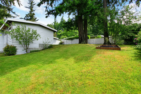 garden styles: Backyard well kept lawn, nicely trimmed grass and bushes . Northwest, USA Stock Photo
