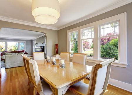 open floor plan: Open floor plan dining room with table set and hardwood floor. Northwest, USA