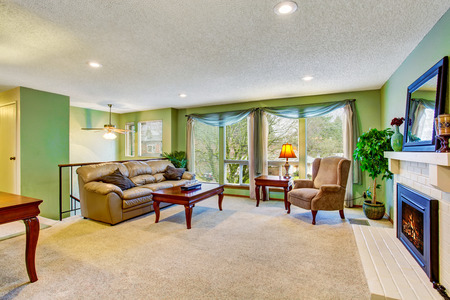 open floor plan: Open floor plan living room interior with green walls, fireplace and leather sofa. Northwest, USA