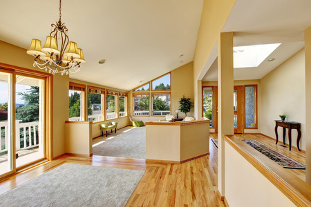 many windows: Open floor plan. Spacious rest area with many windows and perfect view. Northwest, USA Stock Photo