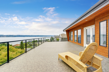 Spacious balcony with perfect water view. Northwest, USA