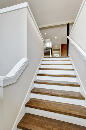 second floor: View of hardwood stairs to second floor. Northwest, USA