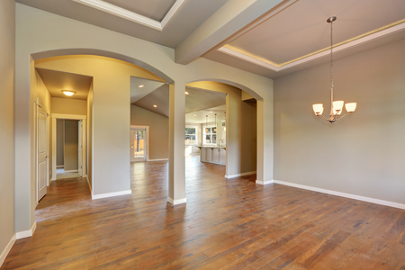empty room: Awesome entrance hall of brand new house. Empty entryway with coffered ceiling, arches and kitchen room at the back. Northwest, USA