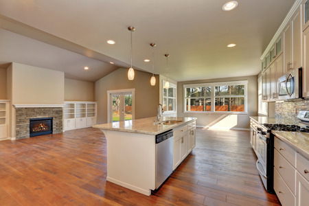 vaulted ceiling: Outlook at the luxury modern kitchen with the living room at the back in a brand new house. Interior design. Northwest, USA