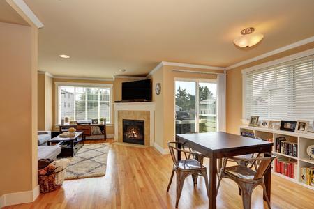 open floor plan: Open floor plan. Dining and living room interior with hardwood floor. Northwest, USA