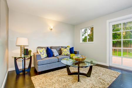 Cozy living room interior with hardwood floor, beige rug and modern furniture. Northwest, USA