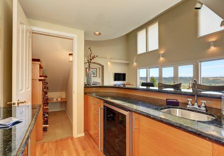 northwest: Modern style kitchen interior with wine storage room. Northwest, USA