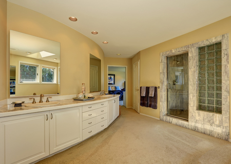 Master Marble Bathroom Interior With Long White Vanity And Beige Carpet  Floor. Northwest, USA