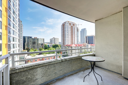 balcony: View from balcony. Apartment building in Seattle. Northwest, USA Stock Photo